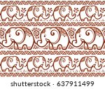 vector ethnic elephants vector... | Shutterstock .eps vector #637911499