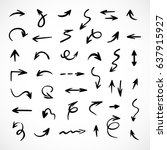 hand drawn arrows  vector set | Shutterstock .eps vector #637915927
