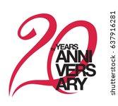 20th anniversary emblem. twenty ... | Shutterstock .eps vector #637916281