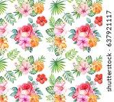 watercolor.seamless flowers... | Shutterstock . vector #637921117