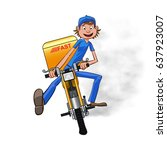 young man working the fast...   Shutterstock .eps vector #637923007
