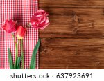 Tulips With Red Checkered...