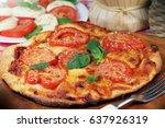 italian food pizza margarita... | Shutterstock . vector #637926319