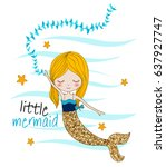 little mermaid | Shutterstock .eps vector #637927747