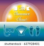set summer icon over sea | Shutterstock .eps vector #637928401