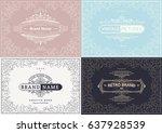 monogram creative cards... | Shutterstock .eps vector #637928539