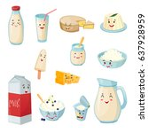 set of milk products with... | Shutterstock .eps vector #637928959