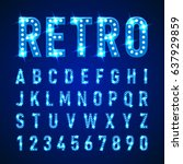 retro volumetric signboard... | Shutterstock .eps vector #637929859