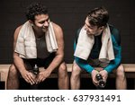 handsome male athletes resting... | Shutterstock . vector #637931491