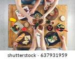 top view  group of people... | Shutterstock . vector #637931959