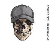 hand drawn human skull wearing... | Shutterstock .eps vector #637932529