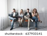 group of young creative people... | Shutterstock . vector #637933141