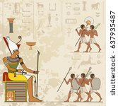 stylized ancient culture... | Shutterstock .eps vector #637935487