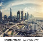 spectacular skyline of dubai ... | Shutterstock . vector #637939699