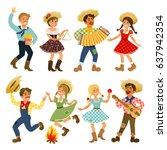 festa junina brazil june... | Shutterstock .eps vector #637942354