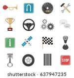 auto set of sixteen isolated... | Shutterstock .eps vector #637947235