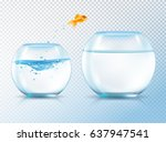 fish jumping out bowl... | Shutterstock .eps vector #637947541