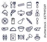 dinner icons set. set of 25... | Shutterstock .eps vector #637949269