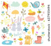 spring set hand drawn elements... | Shutterstock .eps vector #637955494