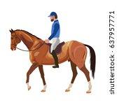 horseback rider. vector... | Shutterstock .eps vector #637957771