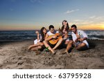 happy young friends group have... | Shutterstock . vector #63795928
