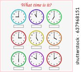 what time is it  worksheet for... | Shutterstock .eps vector #637968151