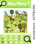 counting game of farm animals... | Shutterstock .eps vector #637981381