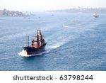 Cargo Ship On Bosporus