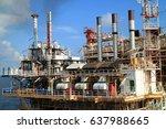 offshore construction platform... | Shutterstock . vector #637988665