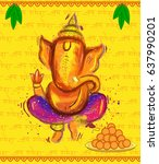 lord ganesha painting style | Shutterstock .eps vector #637990201