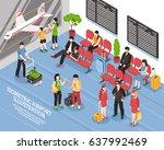airport departure waiting area...   Shutterstock .eps vector #637992469