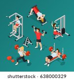 isolated isometric gym people... | Shutterstock .eps vector #638000329