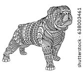 bulldog coloring book for adults   Shutterstock .eps vector #638003461