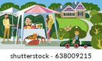 lunch outdoors for a young... | Shutterstock .eps vector #638009215