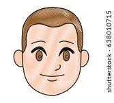 cartoon head young man smile... | Shutterstock .eps vector #638010715