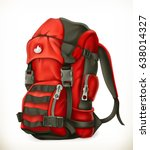 tourist backpack  3d vector icon | Shutterstock .eps vector #638014327