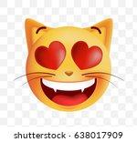cute emoticon cat in love on... | Shutterstock .eps vector #638017909
