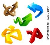 set of shiny 3d arrows | Shutterstock . vector #63801844
