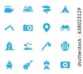 set of 16 adventure icons set...