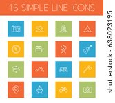 set of 16 adventure outline... | Shutterstock .eps vector #638023195