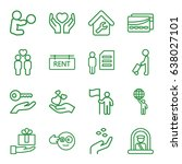 holding icons set. set of 16... | Shutterstock .eps vector #638027101
