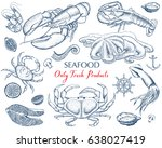 seafood fish  shrimp  crab ... | Shutterstock .eps vector #638027419