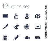 set of 12 studies icons set... | Shutterstock .eps vector #638027581