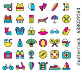 set of beach icons. vector... | Shutterstock .eps vector #638029561