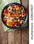 salad of colorful tomatoes ... | Shutterstock . vector #638029837