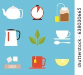 tea preparation icon  flat... | Shutterstock .eps vector #638030665