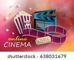 3d online cinema on red... | Shutterstock .eps vector #638031679