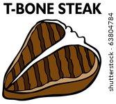 an image of a t bone steak.   Shutterstock .eps vector #63804784