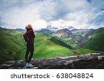 tsminda sameba monastery ... | Shutterstock . vector #638048824