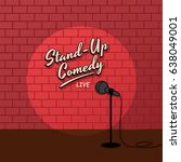 open mic stand up comedy | Shutterstock .eps vector #638049001